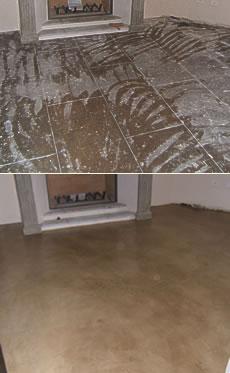 sol avant et après le béton ciré